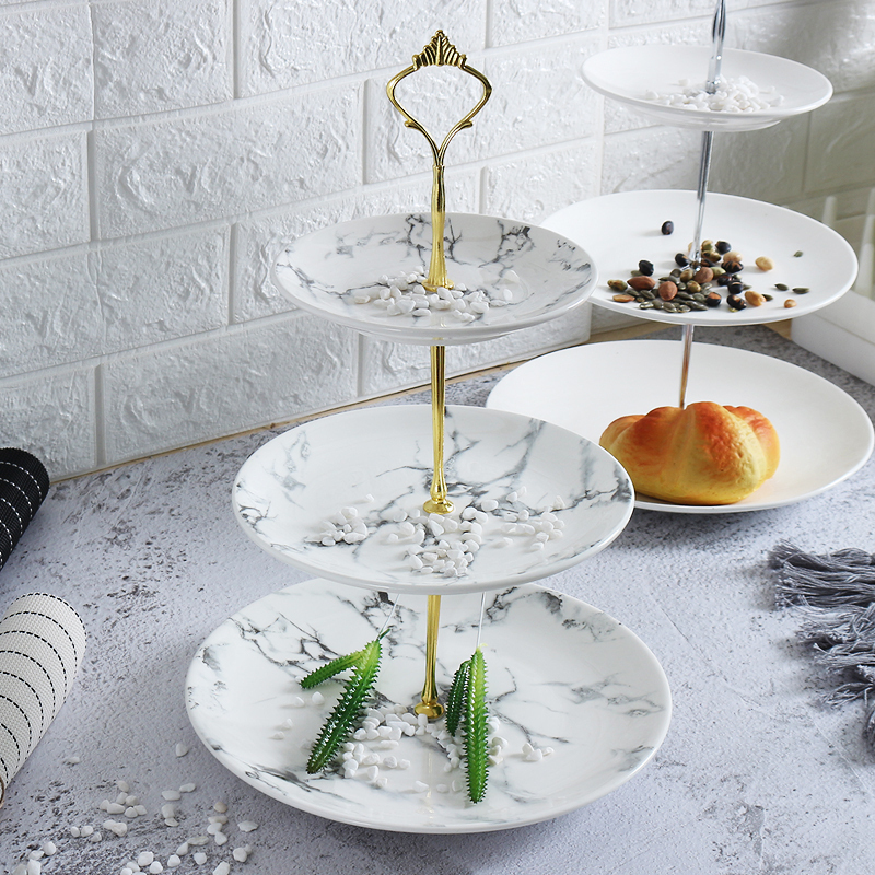 Creative marble ceramic dishes Nordic home dessert cake plate afternoon tea cutlery Three-tier wedding birthday fruit plate