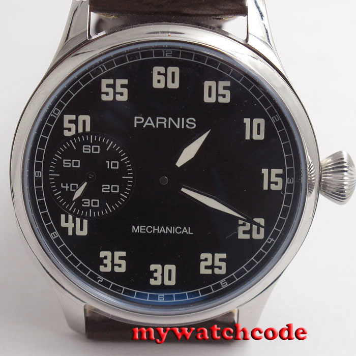 44mm parnis black dial ST hand winding 6497 mechanical mens watch P792 цена и фото