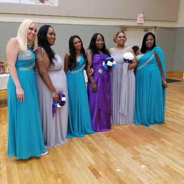 Turquoise and Purple Bridesmaid Dresses