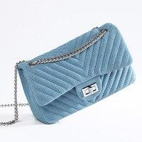 Razaly brand high quality designer blue denim bag handbags clutch crossbody satchles diamond lattice metal silver chain totes