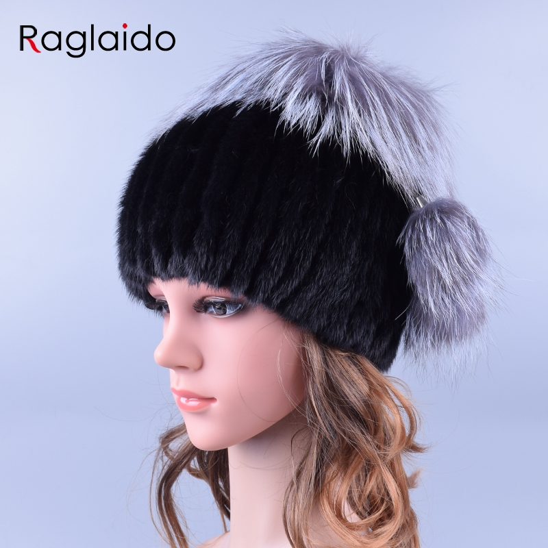 Raglaido Stylish Womens Fur Hats Hand knitted Real Mink Fur Winter Hat with fox fur pompom ball caps fashion beanies LQ11193