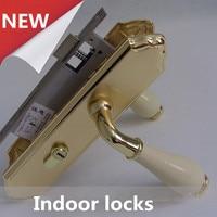 modern simple fashion white gold room door locks , ceramic dedroom book room door locks ivory white european style indoor locks