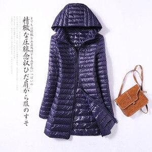Image 3 - 2020 Autumn Jacket Women Duck Down Slim Long Parkas Ladies Warm Coat Hooded Plus Size 5XL 6XL Ultra Light Winter indoor Coats