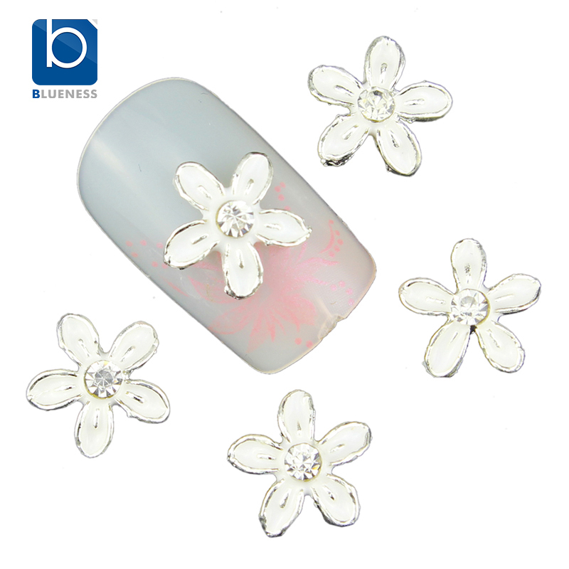 Blueness 10Pcs 3D Floral Nail Art Tips Ues On Polish Manicure Flower Design Glitter Silver Alloy Decorations For Nails TN1538
