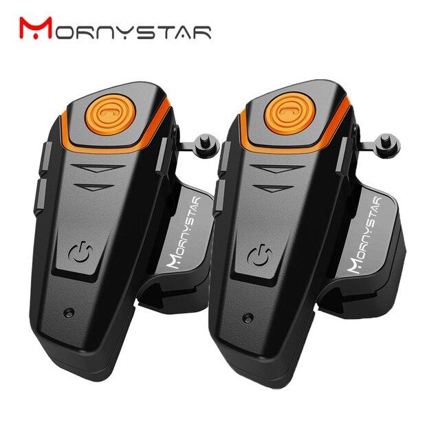 2 pcs À Prova D' Água Da Motocicleta Moto Capacete Do Bluetooth Interfone Interfone Headset com Rádio FM Sem Fio fone de Ouvido do Capacete para o Cavaleiro
