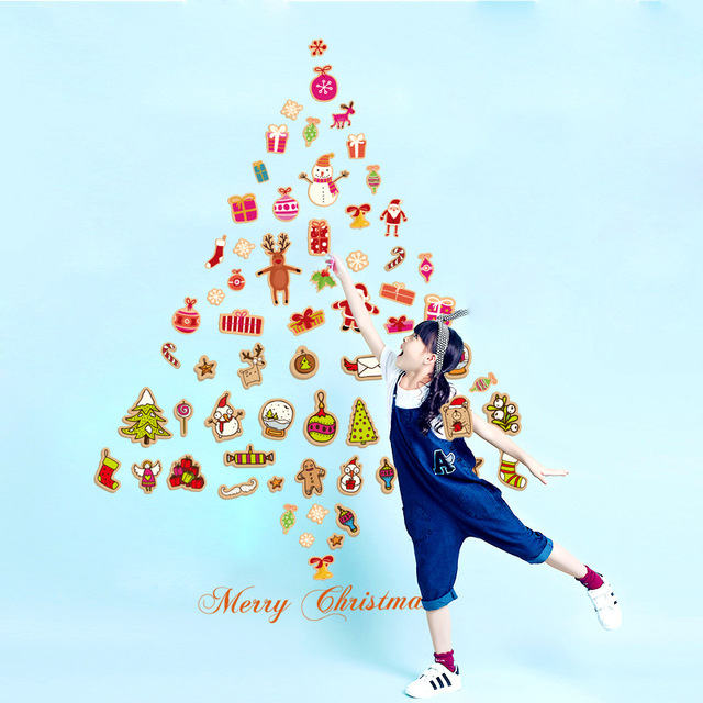 AWOO Christmas Tree Wall Sticker Food Santa Claus 70*50cm Removable Wall  Sticker Vinyl Decal