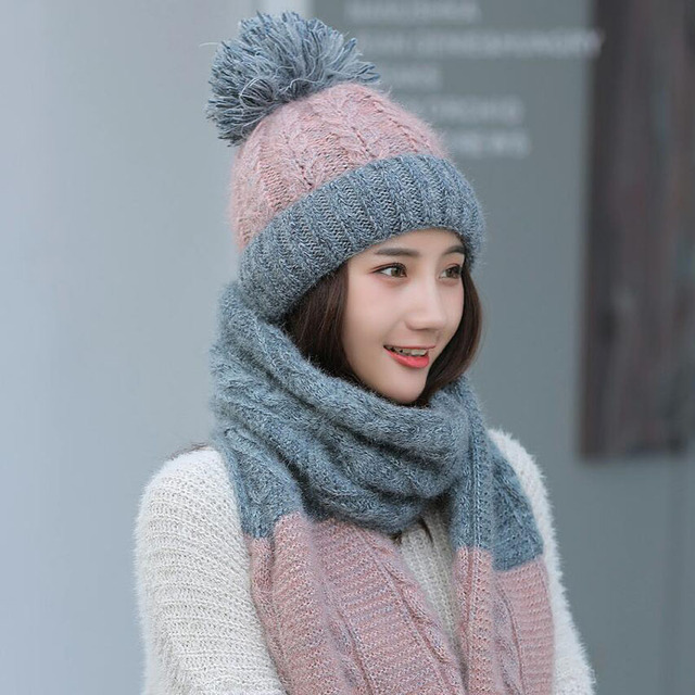 Brand Winter Color matching Hat Scarf Knitted Hat Skullies Beanies women  Winter Gorros For women Caps d9029674e2a2