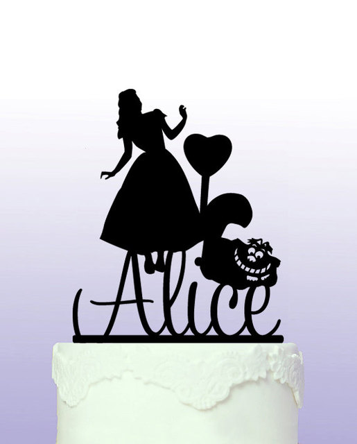 Acylic Alice In Wonderland Personalised First Name Birthday Cake Topper Girl Princess Baby Shower Party Decorations