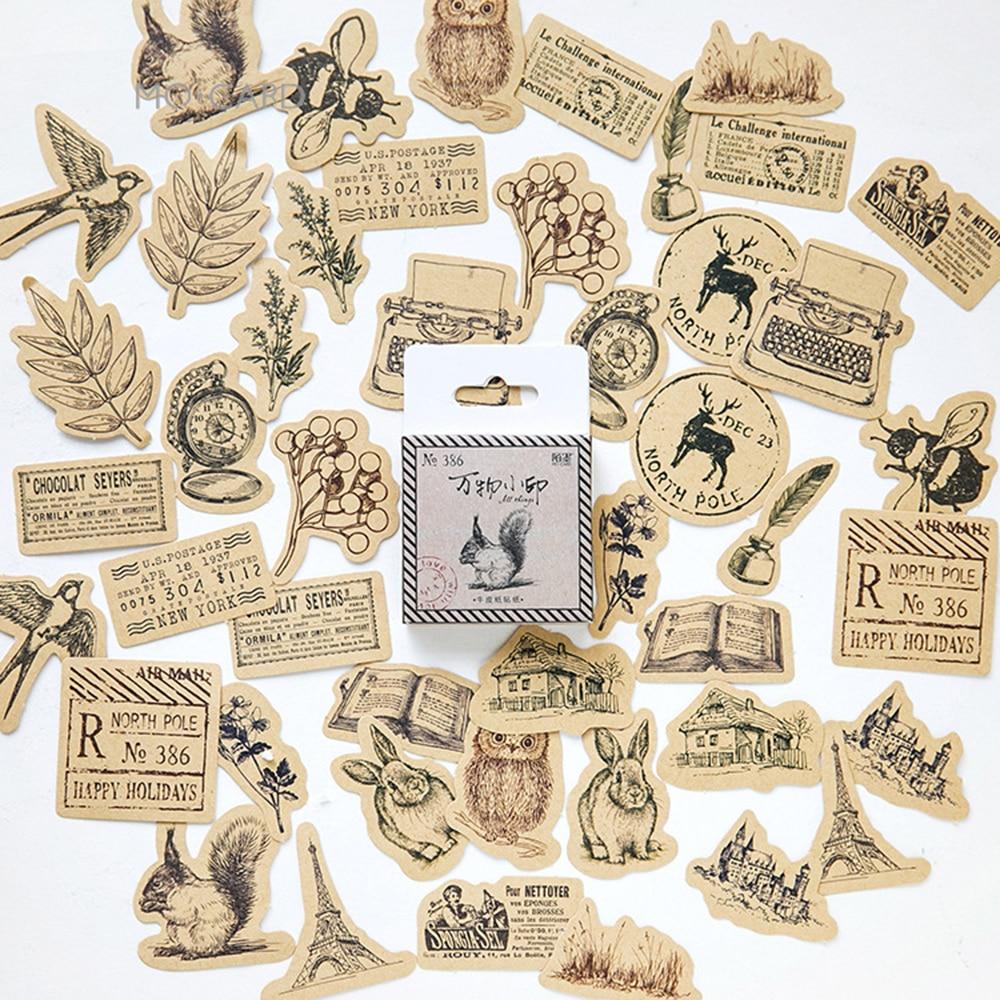 Retro All Prints Kraft Paper Stickers Set Decorative Stationery Stickers Scrapbooking DIY Diary Album Label