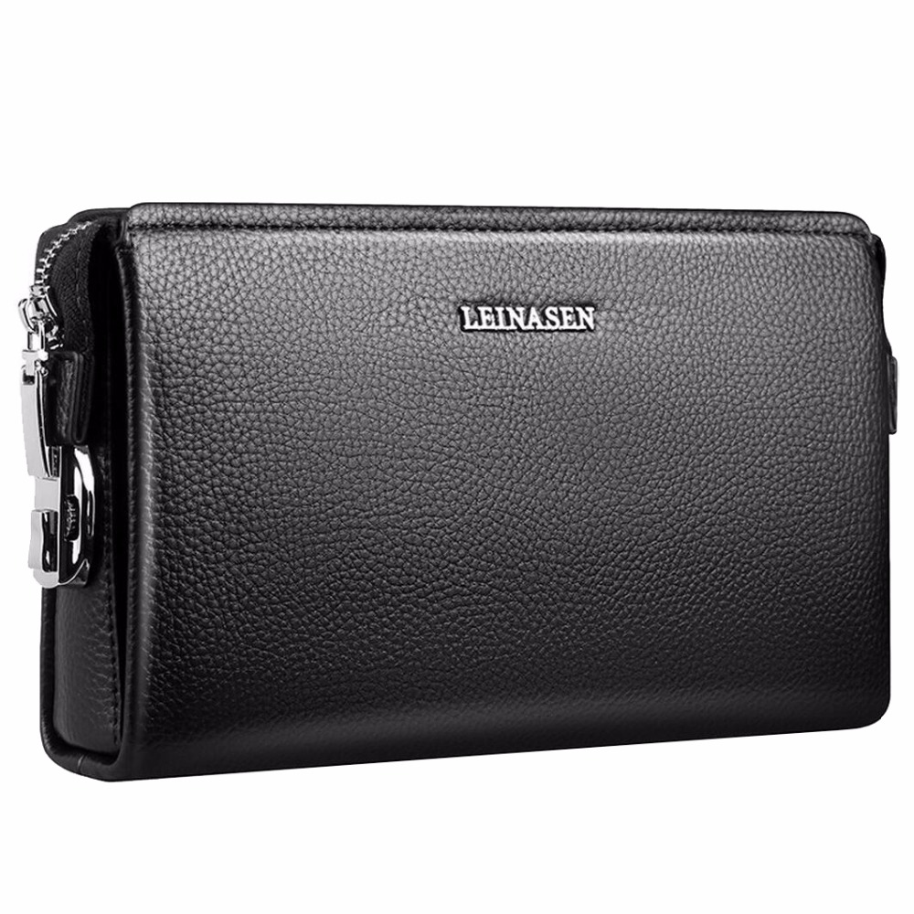 Business Black Genuine Leather Wallet Men's Clutch bag Large Capacity Male Clutch Wallets Card Holder Purse Leather Handbag New genuine leather men business wallets coin purse phone clutch long organizer male wallet multifunction large capacity money bag