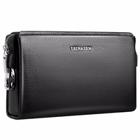 Business Black Genuine Leather Wallet Men S Clutch Bag Large Capacity Male Clutch Wallets Card Holder