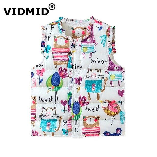 VIDMID 2-6Y Girls Vests Children's Down Cotton Warm Vest Baby Girls Sweet Floral Waistcoat Kids Vest Outerwear coat 1035 01