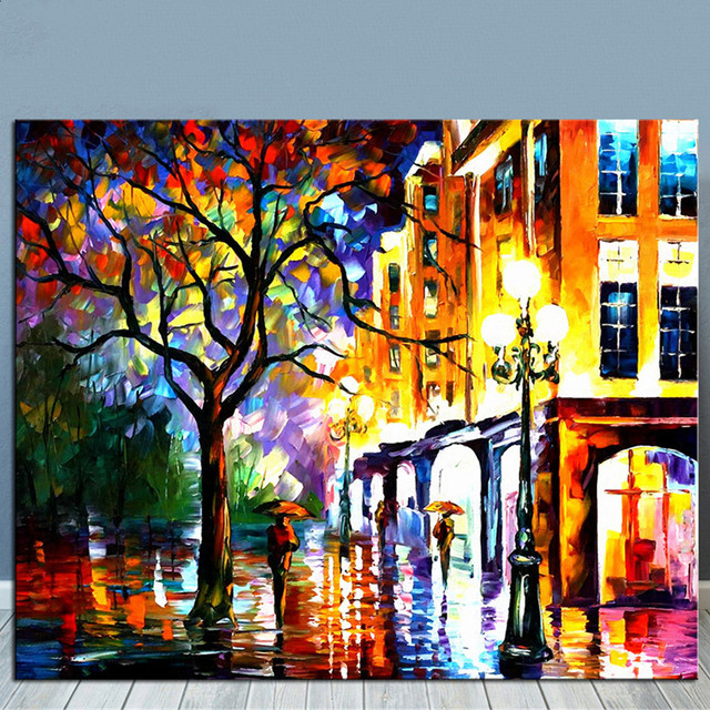 Hand painted scenery oil painting on canvas street scene art wall picture home decor acrylic streetscape