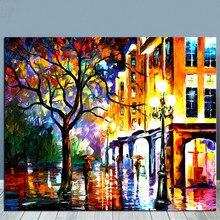 Pintados À mão Cenário Cena de Rua Da Pintura A Óleo sobre Tela de Arte do Retrato Da Parede Home Decor Acrílico Pinturas Faca de Paleta da Paisagem Urbana