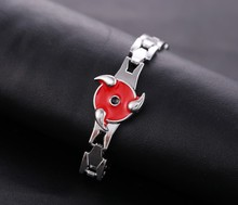 Naruto Red Rotation Sasuke Sharingan Metal Bracelet Bangles