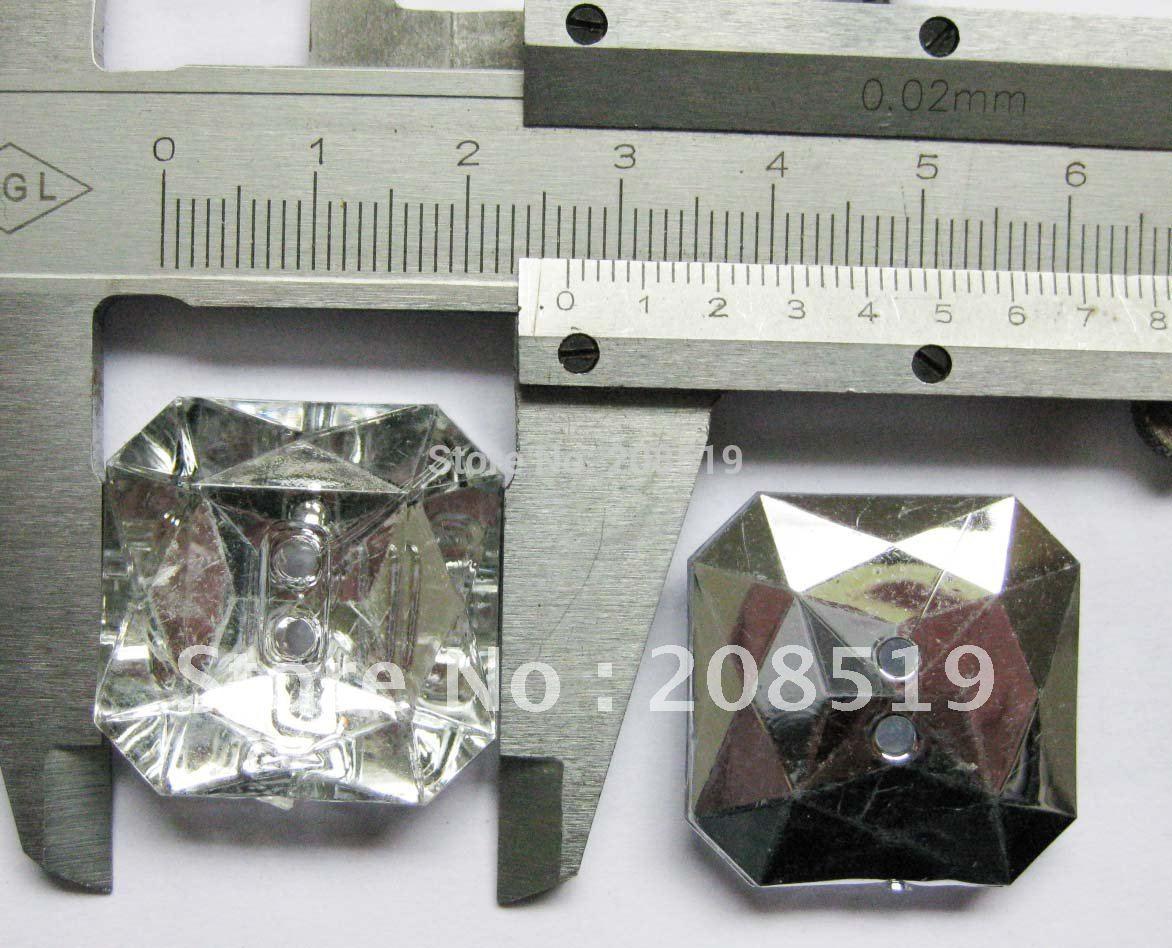 NB0026 сильвербек соль квадратные кнопки 27 мм 20 штук 2 отверстия акриловый кристалл прозрачный бутонов, хлопковая ткань для одежды