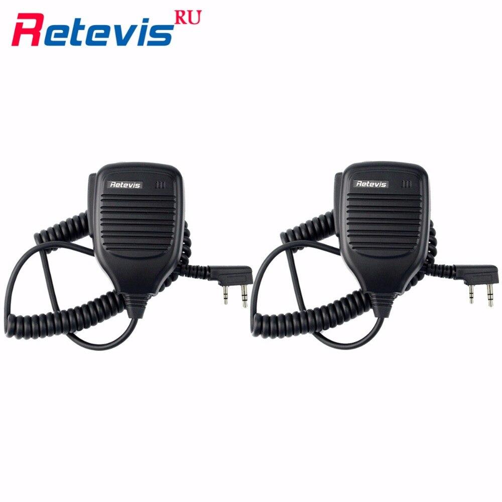 2pcs Handheld Speaker Microphone Walkie Talkie Accessories 2Pin PTT MIC For Kenwood Retevis RT5R H777 Baofeng