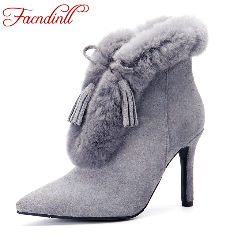 FACNDINLL new fashion women autumn winter ankle boots shoes high thin heels pointed toe real fur shoes woman dress party boots