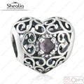 2016 Xmas Gift 925 Sterling Silver Openwork February Signature Purple Crystal Heart Birthstone Charm Beads Fit European Bracelet