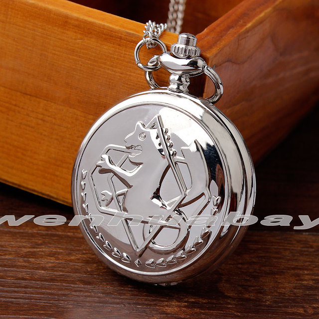 Unique Silver Full Metal Alchemist Quartz Pocket Watch Necklace Chain New Fashio