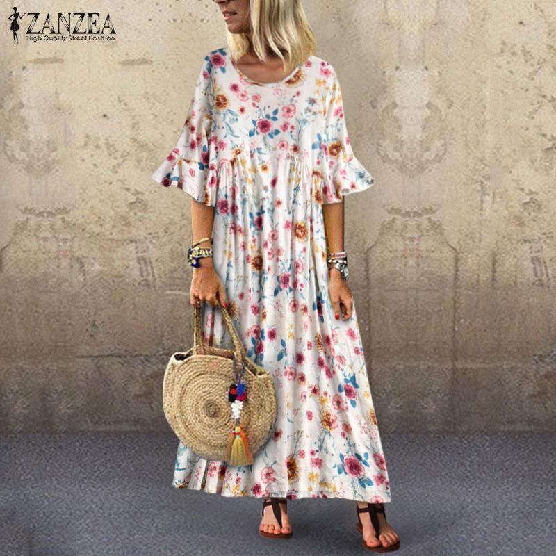 2020 ZANZEA Summer Short Sleeve Dress Women Floral Printd Long Maxi Sundress Bohemian Ruffles Vestidos Femme Robe Tunic Dresses