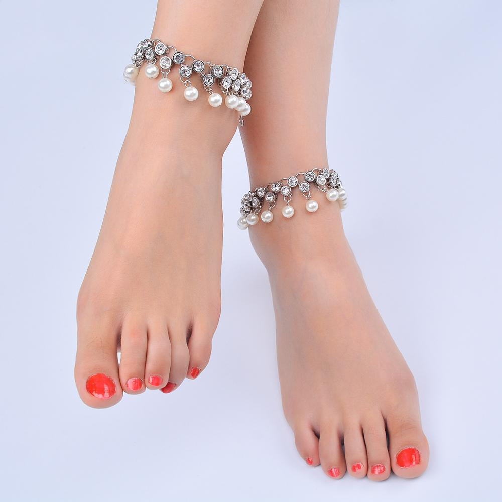 Imitation Pearl Tassel Anklet Fashion Crystal Anklets for Women Summer Beach Simple