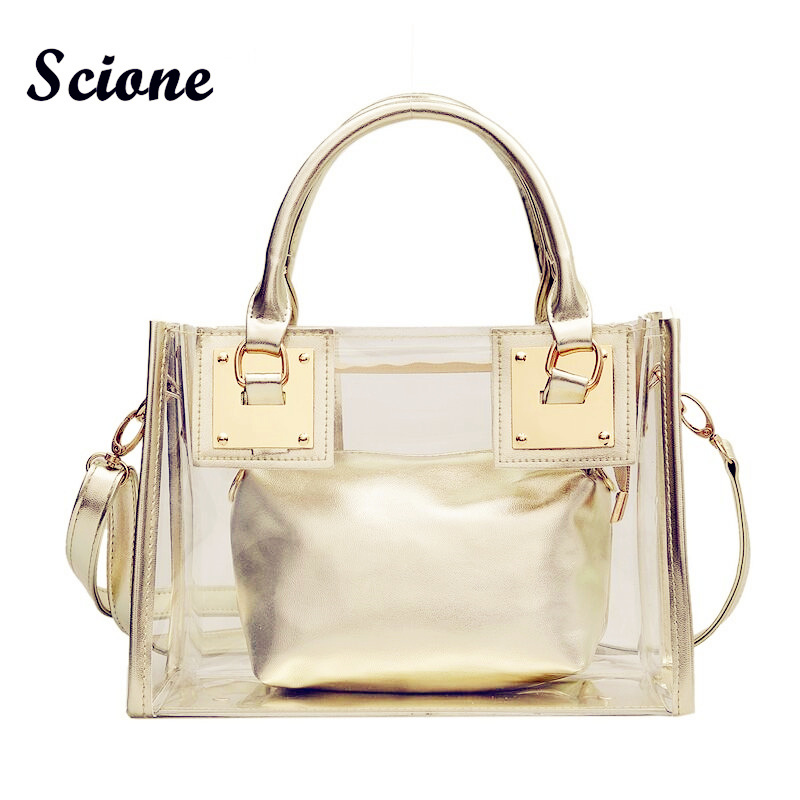 4ad2d13515 Transparent Tote Bag Women Handbags Crystal Clear Beach Bags 2017 Candy  Color Jelly Bags Girls Waterproof