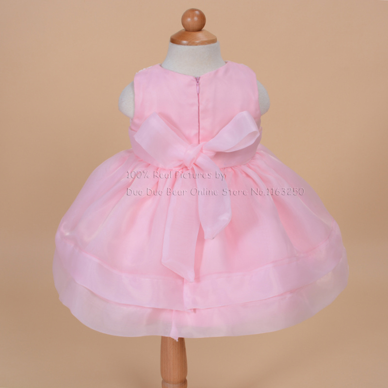 High Grade Newborn White Lace Baptism Gown Pink Baby Dress