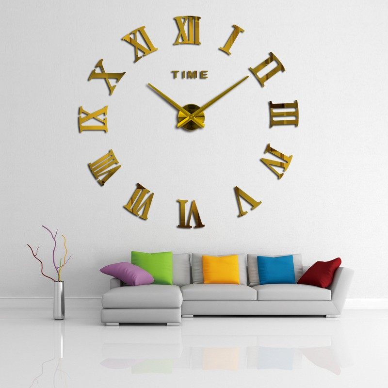 promotion 16 new home decor large roman mirror fashion modern Quartz clocks living room diy wall clock watch free shipping 3
