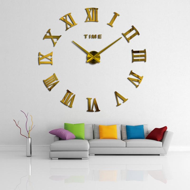 promotion 16 new home decor large roman mirror fashion modern Quartz clocks living room diy wall clock watch free shipping 3