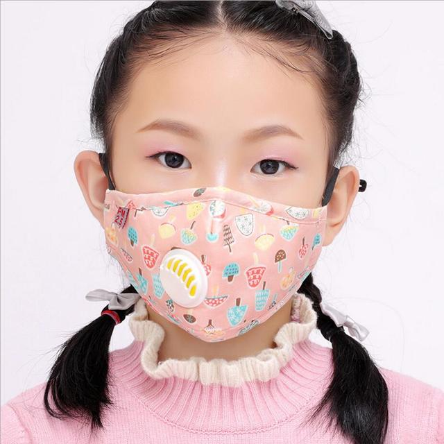 Cartoon 3-10 year old Kids mask PM2.5 Anti Haze Cotton Mask Breath valve anti-dust mouth mask Activated carbon filter respirator 5