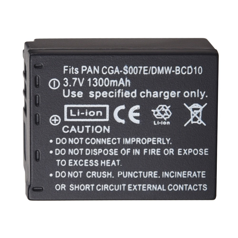 Rechargeable Battery 1300mAh CGA-S007 CGR-S007E For Panasonic Lumix DMC TZ1 TZ2 TZ3 TZ4 TZ5 TZ50 TZ15 CGR-S007E Camera Battery - ANKUX Tech Co., Ltd