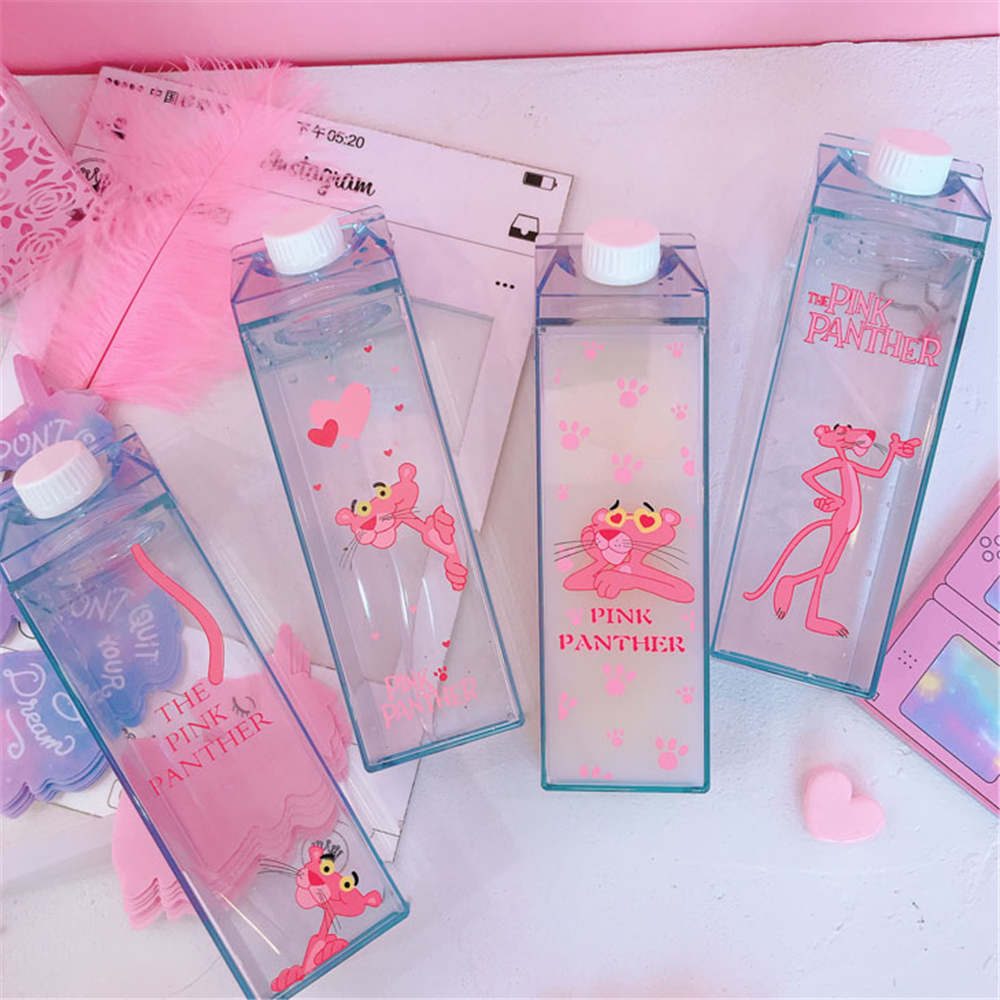 Cartoon Water Bottles Milk Box Shape Plastic Cups Students Cute Pink Panther Drink Bottle for Juice Coffee Tea Drinkware|Water Bottles| |  - AliExpress