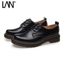 Students Oxfords Shoes for Women JK Unisex Lace Up Genuine Leather Women Flats Casual Ladies Shoes Plus Size 43 44