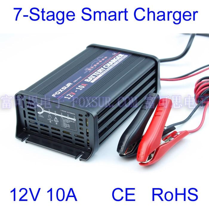 FOXSUR 12 v 10A 7-estágio inteligente bateria de Chumbo Ácido carregador de bateria de Carro carregador de pulso de Alumínio Carregador De Bateria 180- 260 v em
