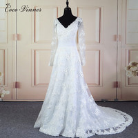 C V European Women Long Sleeve Elegant Lace Wedding Dress A Line Custom Made Plus Size