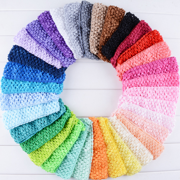 5 шт./лот 1,5 «для девочек эластичная Женская повязка для головы пачка вязаный крючком оголовье для детей аксессуары для волос F102