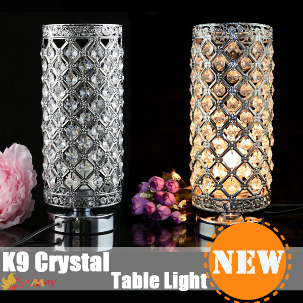 ФОТО Table Crystal LED lens headlight Stainless steel mirror Bathroom wall Crystal lights for baby room night light desk lamp