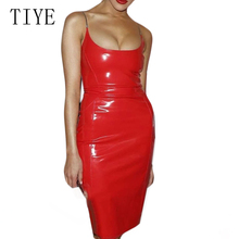 TIYE Summer Fashion Sexy PU Leather Slim Mini Dress Women Elegant Sleeveless Off Shoulder Bodycon Pencil Femele Clubwear
