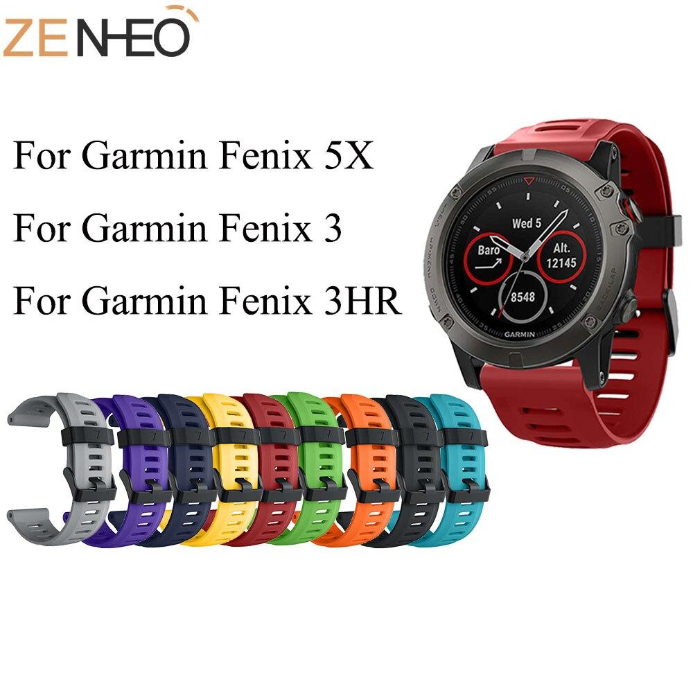 Silicone Sport 26mm Band For Garmin Fenix 5X Smart Watch Wrist Strap Replacement Watch Strap For Garmin Fenix 3/3HR 5X Plus Band