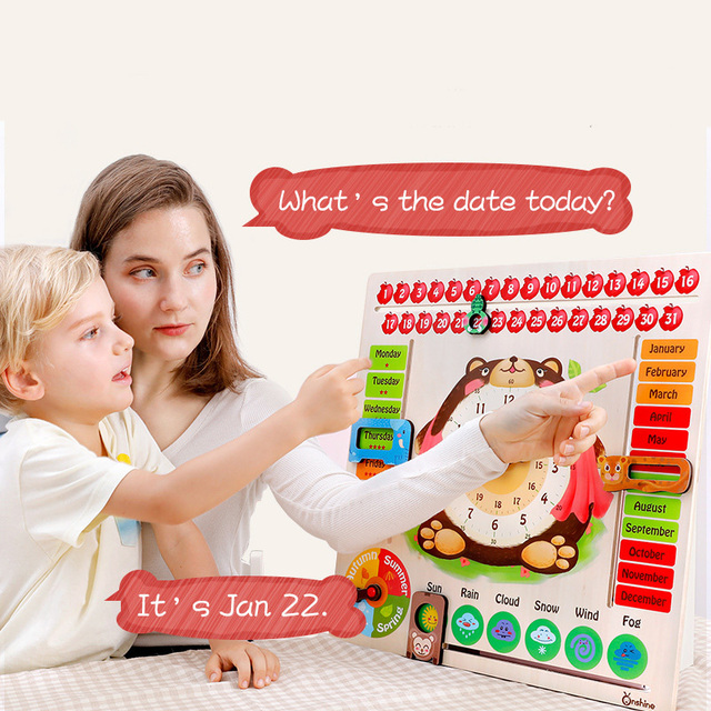 Kids Wooden Calendar Clock Puzzle Toys Tangram Cognitive Digital Clock Digital Wood Watch Jigsaw Toys Education Parent-Child Toy
