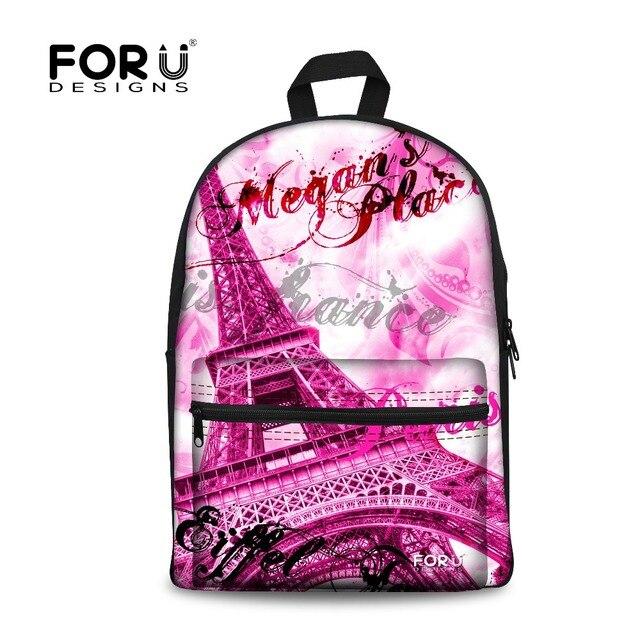 FORUDESIGNS Women Vintage Canvas Schoolbag Backpack Paris Eiffel Tower Prints Teenager Girls Cartoon Travel Rucksack School Bags
