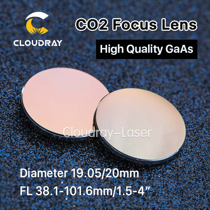Cloudray GaAs Focus Lens Dia. 19.05 / 20mm FL 50.8 63.5 101.6mm 1.5-4 High Quality for CO2 Laser Engraving Cutting Machine cvd znse co2 laser focus lens with diameter 18mm focus length 38 1mm thickness 2mm