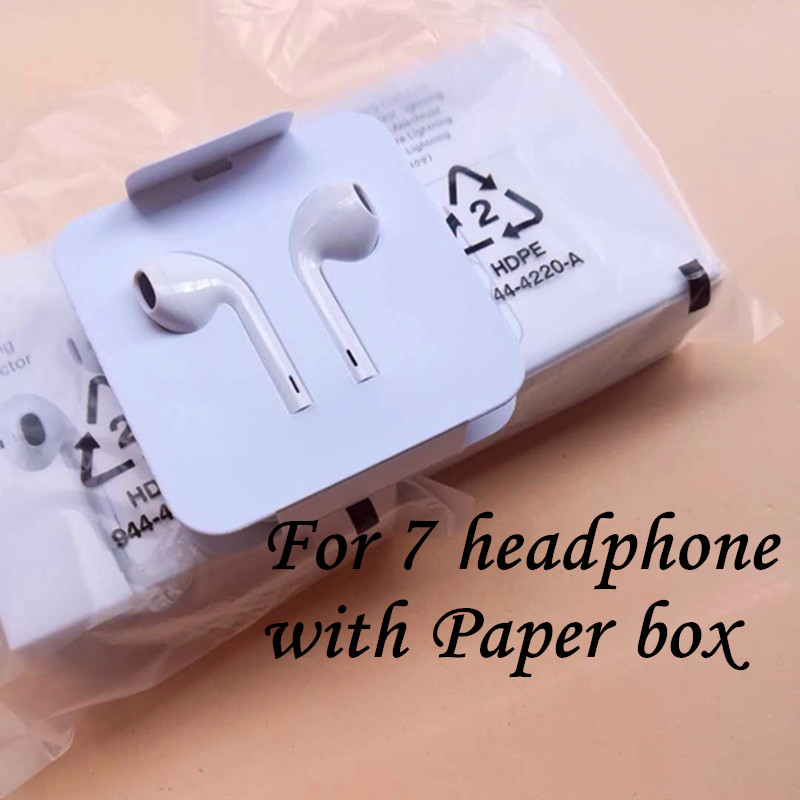 In-Ear-Headphones Quality-Headset Remote-Mic Retail-Box 10pcs with for I7 8-X 1:1 Paper