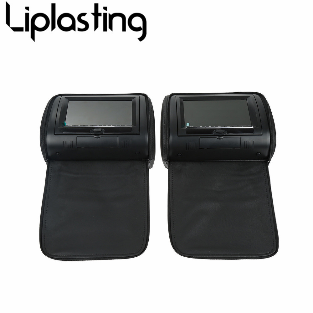 Liplasting Black 7 Car PVC Headrest Pillow Lcd Monitors Screens 12V DC W/ Built-in Speaker 2pcs