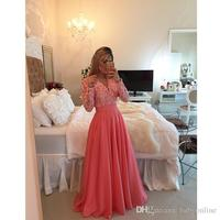 2016 Cheap Long Sleeves Lace Chiffon Bridesmaid Dresses V Neck Appliques Custom Made Luxury Pearls Party