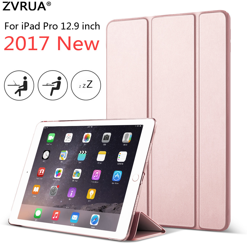 Case for iPad Pro 12.9 inch 2017 New, ZVRUA YiPPee Color Ultra Slim PU leather Smart Cover Case Magnet wake up sleep цены онлайн