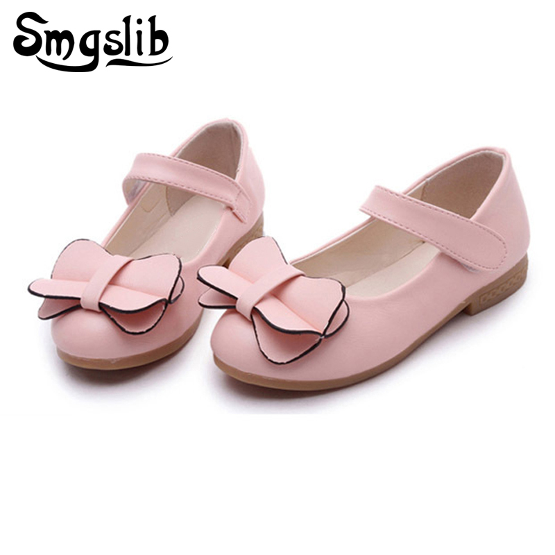 New Arrival Girls Shoes PU Leather For Children Kids Princess Shoes Bowtie butterfly Princess Dance Shoes For Girls Sneakers