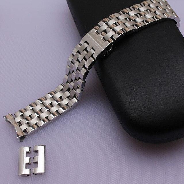 296de9106ab Pulseira de aço inoxidável pulseira de Borboleta de metal sólido clasp16mm  18mm 20mm 22mm 24mm assista