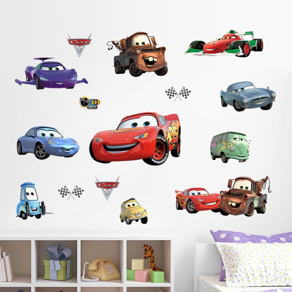 3d cars 2 world grand prix cartoon art children living room wall stickers decals removable home decors wall sticker decorative in wall stickers from home